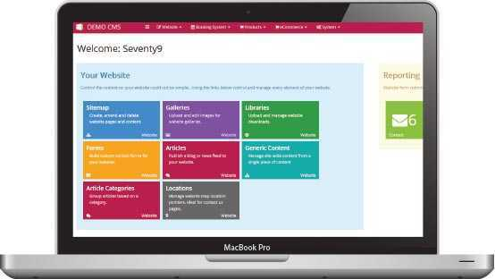 An example of the Sevent9 content management system